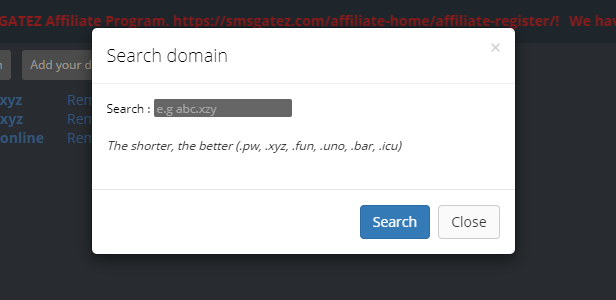 Search Domain Pop up
